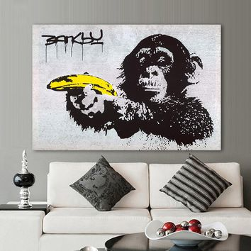 HDARTISAN Canvas Art Banksy Graffiti Painting Chimpanzee Holding A Banana Wall Pictures For Living Room Home Decor Printed