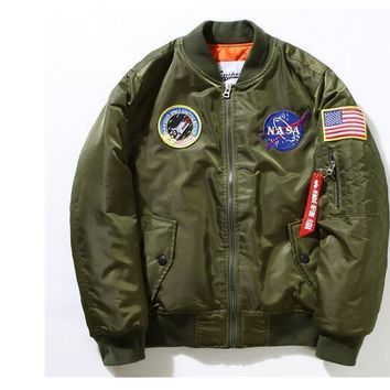 New Nasa Flight Pilot Jacket Men Ma1 Bomber Jacket Air Force Embroidery Baseball Military Thick Jacket M 4xl
