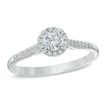 1/2 CT. T.W. Diamond Frame Engagement Ring in 14K White Gold