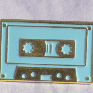 "Light Blue on Polished Gold 1"" Soft Enamel Cassette Tape Enamel Pin Lapel Pin 1980s Retro"
