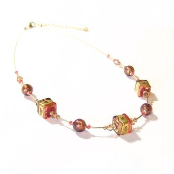 Murano Glass Pink Brown Cube Gold Necklace, Illusion Necklace