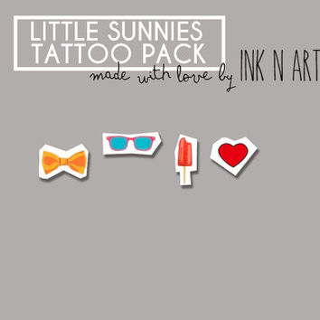 InknArt Temporary Tattoo - Sunnies Icebar bow set pack tattoo tiny collection quote wrist neck ankle body sticker fake tattoo