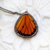 Real Butterfly Wing Necklace Monarch
