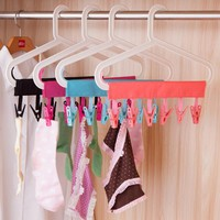 Polyester / plastic Portable Bathrooms Cloth Hanger Rack Clothespin BusinessTravel Portable Folding Cloth Hanger Clips
