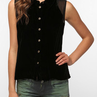 Urban Outfitters - Sparkle & Fade Sleeveless Velvet Button-Down Shirt