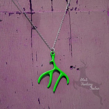 Lime  Green Deer Antler Charm Necklace / Antler Necklaces