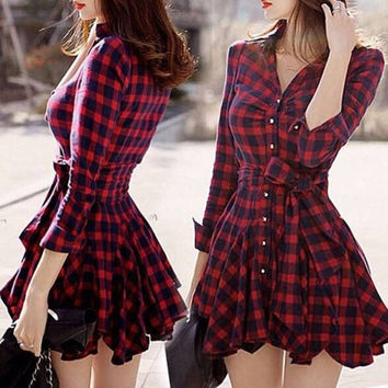 New Fashion Women Winter Dresses Plaid V-neck Party Elegant Evening Classical = 1946284036