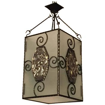 French Art Deco Nickel over Bronze and Iron Lantern / Chandelier