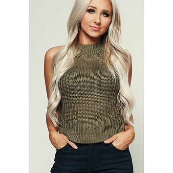 Lush Knitted Tank Top (Olive)
