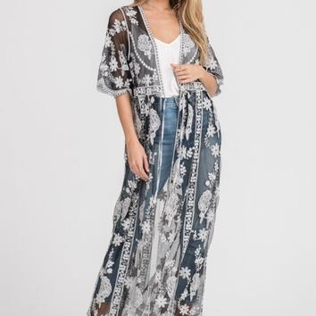 Women's Sheer Duster Kimono with Contrast Embroidery
