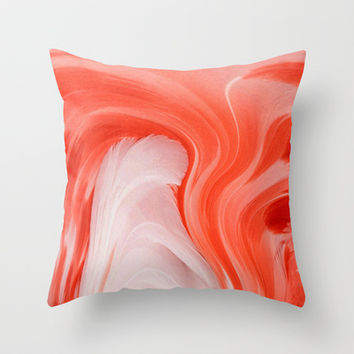 FLAMINGO FEATHERS ABSTRACT Throw Pillow by catspaws