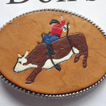 Oval Bull Rider Leather Belt Buckle