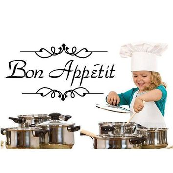 MDIGYN5 1PC Vinyl Wall Stickers Quote Bon Appetit Dinning Room Decor Kitchen Decals Art