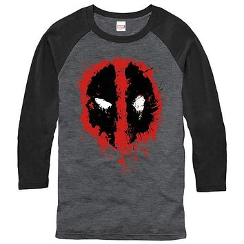 Mens Deadpool Splatter Icon Raglan Shirt