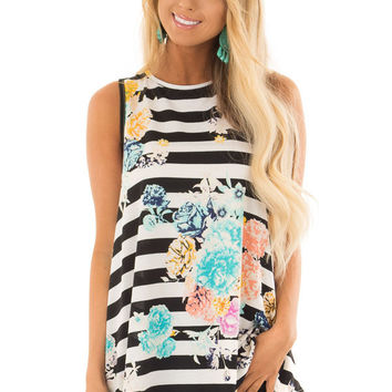 Black and White Striped Floral Slinky Tank Top
