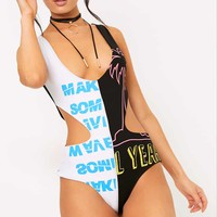 Black Cut Out Spliced Print Thong Bodysuit