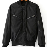 Cool Zipper Design Black Jacket