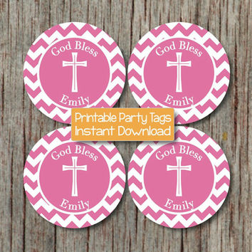 Baptism Pink Cupcake Toppers First Holy Communion Religious Gum Pink Cross Party Toppers Favor Tags Digital - 228