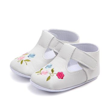 Children Baby Kids Girls Vintage Classic Floor Shoes PU Flowers Non-Slip Soft Toddlers First Walkers Floral