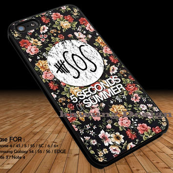 5 Seconds Of Summer on Floral DOP1165 iPhone 6s 6 6s+ 5c 5s Cases Samsung Galaxy s5 s6 Edge+ NOTE 5 4 3 #music #5sos