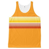 70's Retro Inspired Summer Color Chest Stripes All-Over Print Tank Top