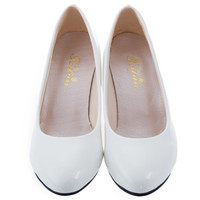 White Shallow Mouth Wedding Pumps