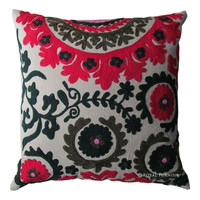 16x16 Decorative Embroidery Indian Suzani Designer Throw Pillow Cover