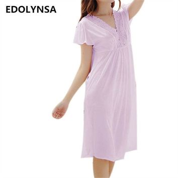 DKF4S New Arrivals Lace Nightgowns Sleepshirts Solid Sleepwear Sexy Nightgown Female Soft Home Dress Vintage Cute Nightgown #H159