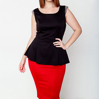 PLUS SIZE BEJEWELED FLARE TOP