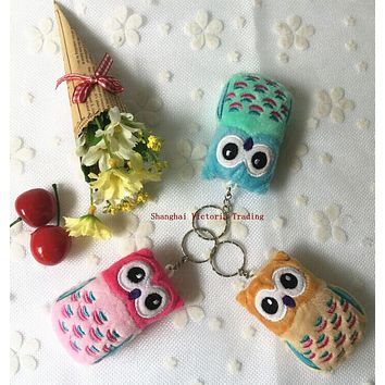 Little New 3Colors Delicate OWL 6CM Plush Stuffed Keychain TOY , Pendant Gift TOY Wedding Bouquet Plush TOY DOLL