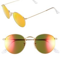 Women's Ray-Ban 50mm Round Polarized Sunglasses - Gold/
