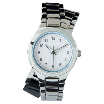 blue ring oversized Silver Bracelet Wrist Watch