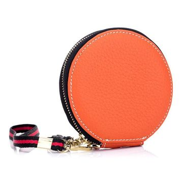 Cylindrical Zipper Purse Kawaii Ball with Gift Coin Purse Cow Leather Coin BAG Girls Cash Pouch Purse Wallet Pocket BAG Keychain