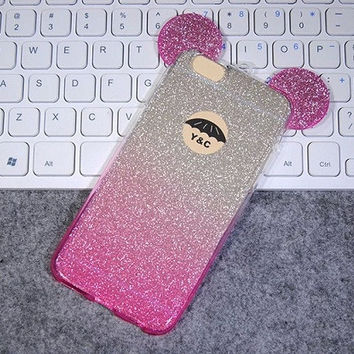 Hot! Luxury Crystal Bling Glitter Cute Cartoon 3D Mickey Mouse Head Soft TPU Clear Back Cover Phone Case For iphone 6 6s/ 6Plus