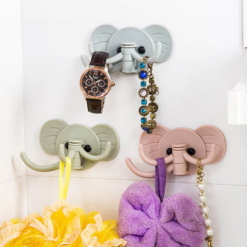 Cute Elephant Plastic Decorative Key Holder Wall Shelf Rack Hook Home Storage Organizer Bathroom Kitchen Accessories