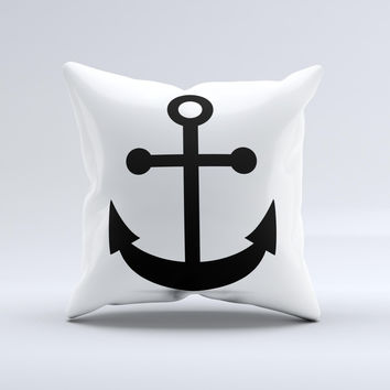 Solid Black Anchor Silhouette ink-Fuzed Decorative Throw Pillow
