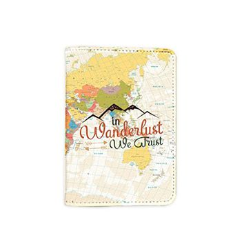In Wanderlust We Trust World Map Passport Holder -Leather Passport Cover - Passport Wallet - Travel Accessory Gift - Travel Wallet for Women and Men_LOKISHOP