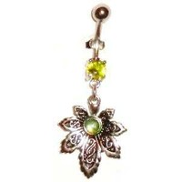 Marijuana Leaf Belly Button Rings with dangling gem pot leaves