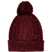 River Island MensDark red neppy cable knit beanie hat