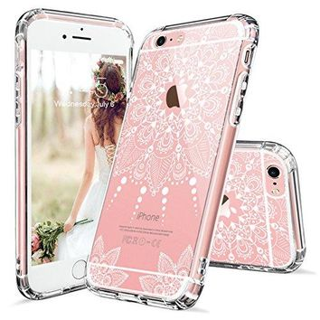 iPhone 6 Plus Case, iPhone 6 Plus Clear Case, MOSNOVO White Henna Mandala Floral Lace Clear Design Printed Plastic with TPU Bumper Protective Back Phone Case Cover for Apple iPhone 6s Plus (5.5 Inch)