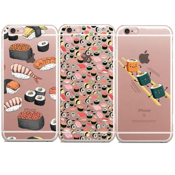 Funny Sushi Japanese Food lovely Love Soft silicone TPU Phone Case Cover For iPhone 5 5S SE 6 6S Plus X 7 7Plus 8 8Plus