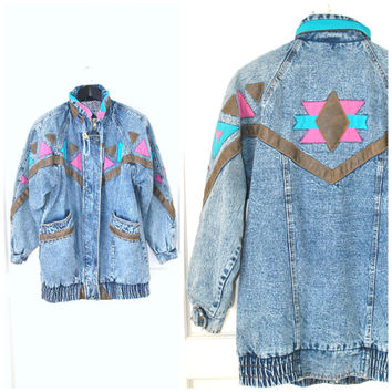 long acid washed DENIM jacket 80s vintage GEOMETRIC leather trim WESTERN style insulated jean jacket os