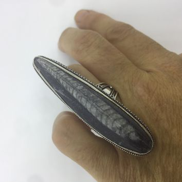 Vintage Genuine Fossil Stone ring