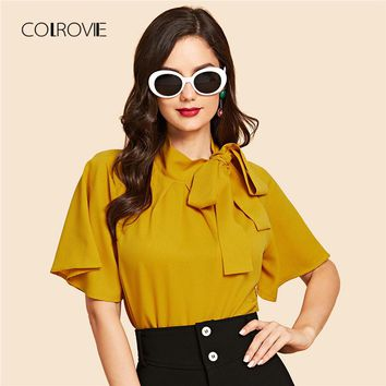 COLROVIE Ginger Vintage Flutter Sleeve Tie Neck Blouse Shirt 2018 Autumn Red Solid Flounce Sleeve Elegant Women Blouse And Tops