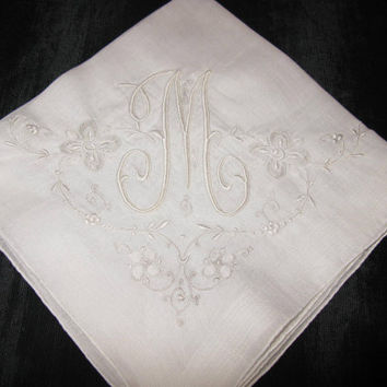 Vintage Monogrammed Handkerchiefs, Monogram M Initial Hankies Letter Marghab Embroidery For Wedding