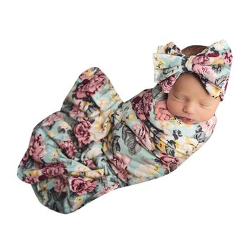 Newborn Baby Boy Girl Infant Floral Swaddle Wrap Headband Swaddling Blanket Muslin Floral Print Baby Sleeping Blanket