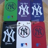 WHITE Sports Team iPhone 4 Plastic Hard Back Case Cover for iPhone 4g New York Yankees White