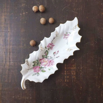 ON SALE - Pink Roses Porcelain Tray, Vintage Leaf Shaped Trinket Dish, Cottage Chic Vanity Decor