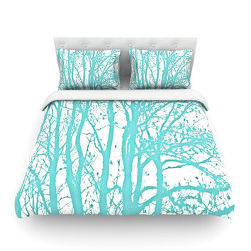 "Monika Strigel ""Mint Trees"" King Fleece Duvet Cover - Outlet Item"