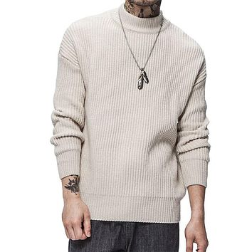 Pure Color Turtleneck Sweater Men New Fashion Thick Men's Sweater Men's Wool Pullover Men's Large Size  Sweater